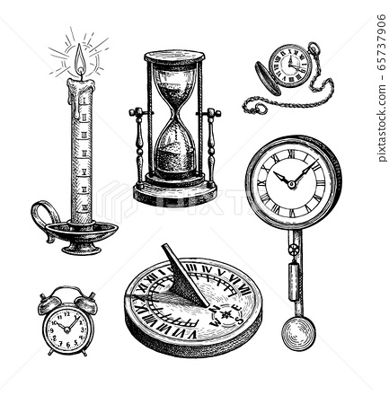 Different types of clocks. 65737906