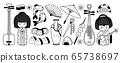 Japanese geisha, fan, umbrella, sushi, onigiri, koi carp and other traditional symbols of Japan.  65738697