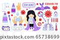 Coronavirus protection elements set. 65738699