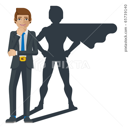 Businessman Super Hero Shadow Cartoon Mascot 65739140