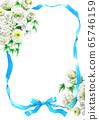 蓝丝带和白花束卡材料 65746159