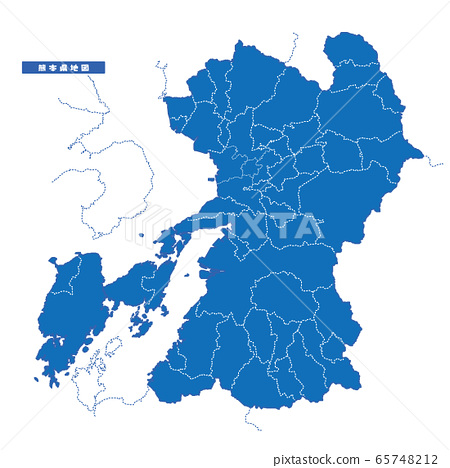 Kumamoto Prefecture Map Simple Blue City 65748212