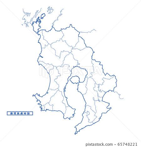 鹿兒島縣地圖簡單的白色地圖自治市 65748221