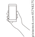 Simple line drawing illustration of a hand holding a smartphone 65748275