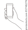 Simple line drawing illustration of a hand holding a smartphone 65748276