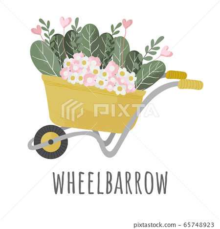 Wheelbarrow yellow garden vector tool equipment side view with sprout of flowers and plant. Flat icon of wheelbarrow with plant in cartoons style with texture. 65748923