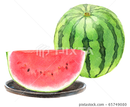 Watercolor watermelon _ 1 and half a month (with plate) 65749080