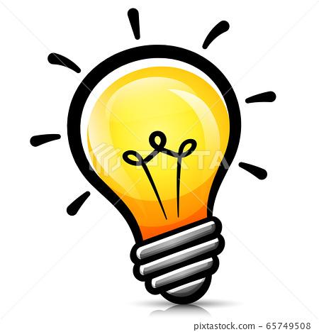 Vector light bulb cartoon isolated 65749508