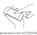 A line drawing illustration of a hand holding a smartphone and operating it with fingers 65750428