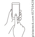 A line drawing illustration of a hand holding a smartphone and operating it with fingers 65750429