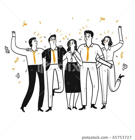 Company employee or businessman Walk in line Talk 65753727
