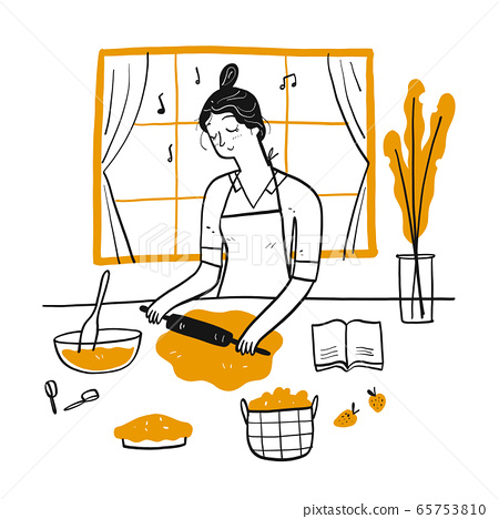 Young Woman Cooking in the kitchen. 65753810