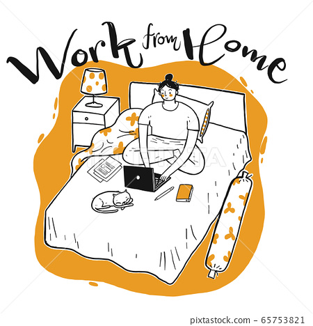 Young woman who working on the bed 65753821