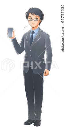 스마트 폰을 가진 곤란 얼굴 사회인의 일러스트 65757339