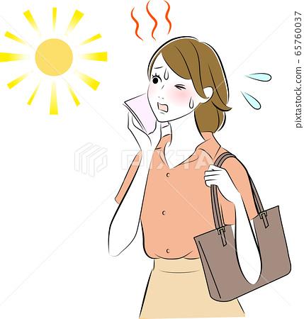 땀 여성 햇살 65760037