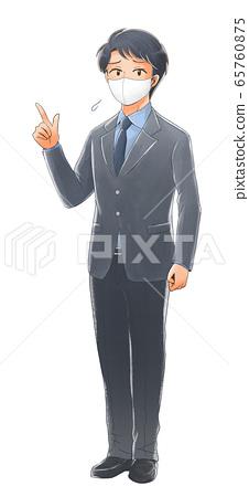 마스크를 착용하고 손가락을 가리키는 곤란 얼굴 사회인의 일러스트 65760875