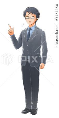 손가락을 가리키는 곤란 얼굴 사회인의 일러스트 65761138
