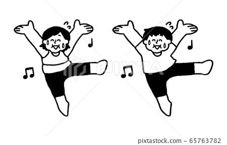 땀을 흘리면서 웃는 얼굴로 춤추는 운동복을 입은 비만 남성 여성 (단순) 65763782