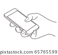 A line drawing illustration of a hand holding a smartphone and operating it with fingers 65765599