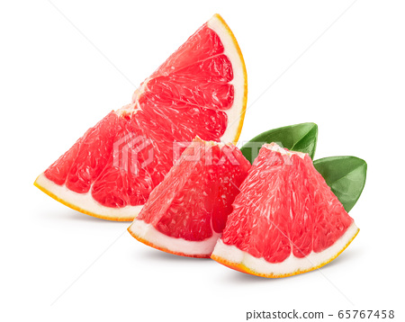Grapefruit slice isolated on white background. With clipping path and full depth of field 65767458