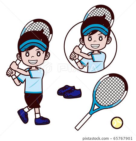 網球男孩遮陽板反手中風 65767901