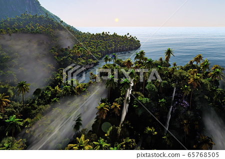 Paradise on Hawaii Island 3d rendering 65768505