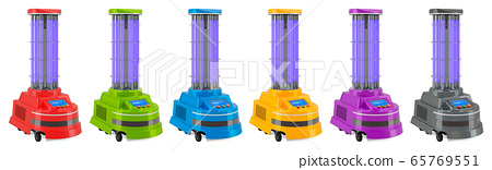 Set of UV disinfection robots, 3D rendering 65769551