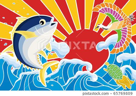 大漁獲標誌金槍魚鶴龜 65769809