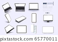 A collection of device at different angles. Vector illustration mockups. Collection mobile devices isolated on white background. Smartphone, laptop, tablet, tv perspective view. Rotated position.UI UX 65770011