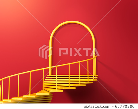 Abstract scene with yellow spiral stairs leading to round portal on red wall. Perfect illustration for placing your text or advertisement. Concept of business achievement. 3d render 65770586