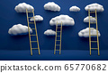 High golden ladders leading to the top clouds flying over blue backgorund. Concept of inspiration, leadership and business achievement. 3D illustration. 65770682