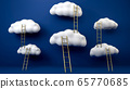 Golden ladders leading to flying white clouds over blue background. Concept of leadership and business achievement. 3D illustration. 65770685