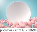 3d render of white blank round sign or plate surrounded with pink soft balls. Perfect background or mockup for placing your text or object. Copyspace 65770690