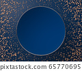3D render of blank blue round plate or sign on blue background and copper balls or spheres. Perfect abstract illustration for placing your text or object. Banner with copyspace in minimalistic style 65770695