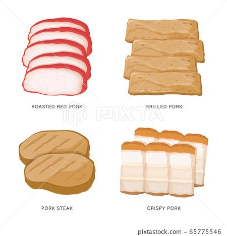 Set of Pork slice food isolated on a white background. Cartoon Vector illustration 65775546