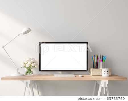 A blank computer screen on a wooden desk in a white room 3d render 65783760