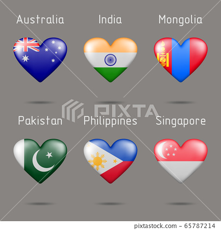 Heart shaped different countries flags 65787214