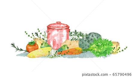 蔬菜和藥草和鍋 65790496
