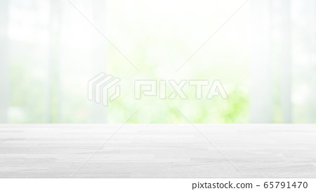 원목 우드 테이블과 노망의 그린 배경 16 : 9 65791470