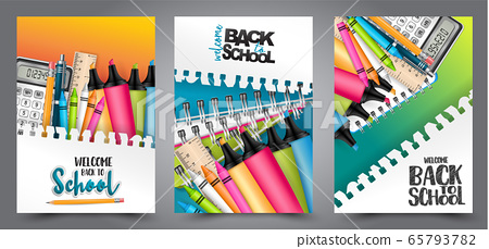 A set of back to school flyers with realistic 3d stationery and items for education. - calculator, highlighers, crayons, copybooks. Text on a torn out sheet of paper. 65793782