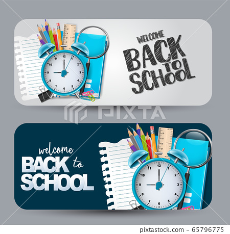 Welcome back to school - a set of banner with rounded edges. 65796775