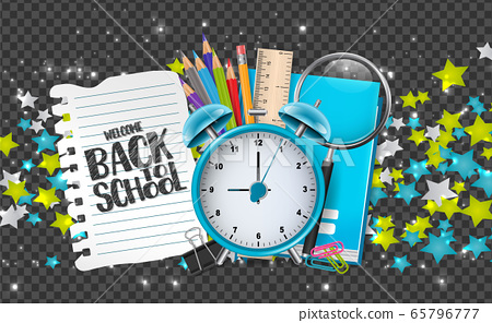 Welcome back to school banner with education supplies, stars, and glowing particles on transparent background. Decor for advertisement, book, magazine, website. 65796777
