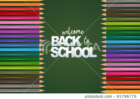Welcome back to school green background with colorful pencils. 65796778