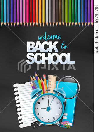 Welcome back to school colorful poster. Education flyer for advertisement, magazine, book cover, website. 65796780