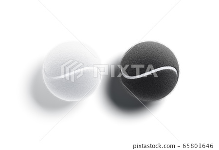 Blank black and white tennis ball mock up, top view 65801646