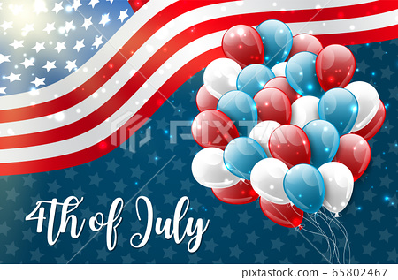 4th of July United States national Independence Day celebration glowing background with American flag and balloons. Party concept. 65802467