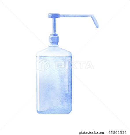 Bottle type hand sanitizer / hand gel. Hand sanitizer. (Trace vector of watercolor illustration) 65802532