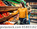 Happy couple with basket in grocery store 65803162