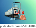 Home delivery, food purchase via the Internet. Your smartphone like track with food arriving to any address worldwide 65804006