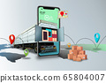 Home delivery, food purchase via the Internet. Your smartphone like track with food arriving to any address worldwide 65804007